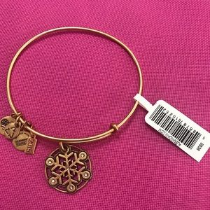 Alex&Ani bracelet gold snowflake w rhinestones